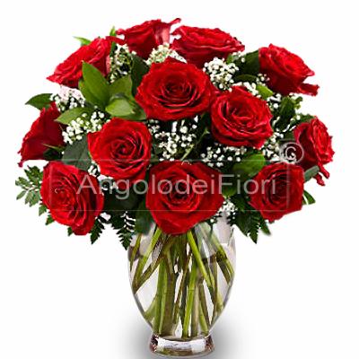 Bouquet di Rose Rosse e verdi di complemento