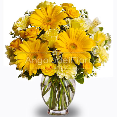 bouquet of yellow roses and gerberas