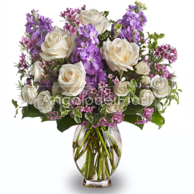 Bouquet of pink roses and lilac flowers lilac