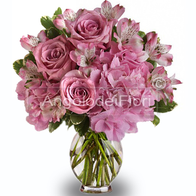 Bouquet of Pink Roses and Pink Flowers