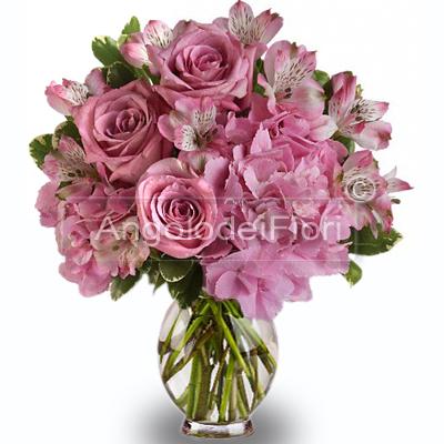 Bouquet di Rose Rosa e Fiori Rosa