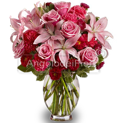 Bouquet di Rose Rosa e Lilium