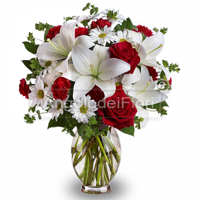 Lilium Bouquet of White and Red Roses