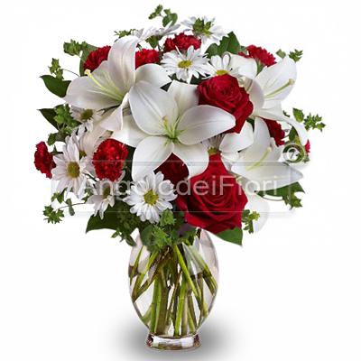 Bouquet di Lilium Bianchi e Rose Rosse