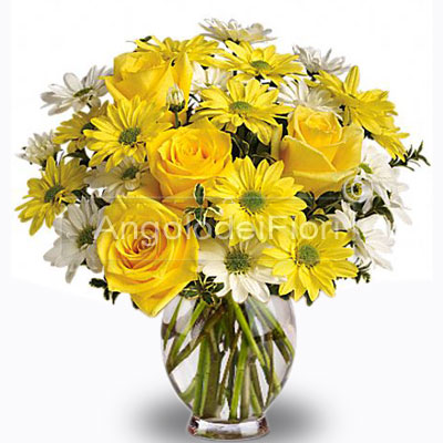 Bouquet with Daisies and Roses