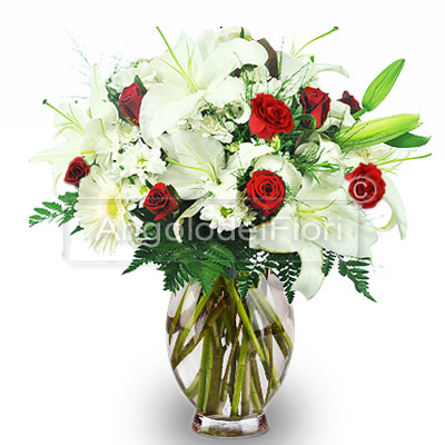 Bouquet of Red Roses and White Lilium