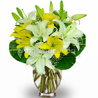 Bouquet of Lilium Whites and Yellows
