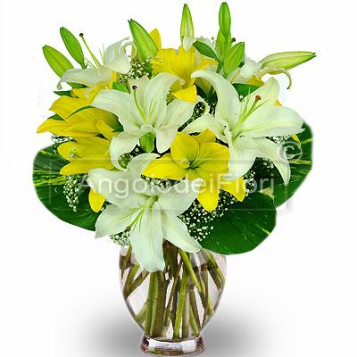 Bouquet di Lilium Bianchi e Gialli