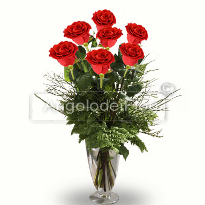 Sette Rose Rosse a gambo lungo