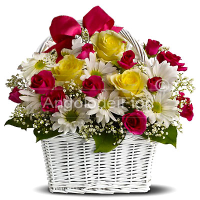 Basket of red and yellow roses