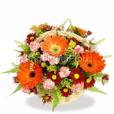 Basket of flowers orange and pink