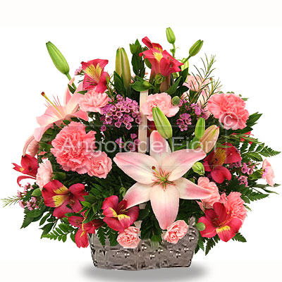 Shades of pink flower basket