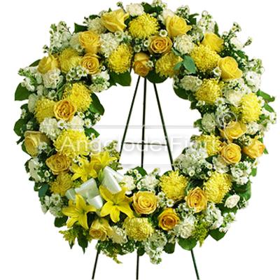 Corona Funebre di fiori bianchi e gialli