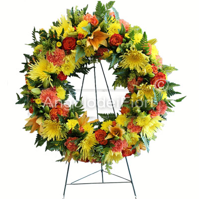 Funeral Wreath with Flowers Yellow Orange