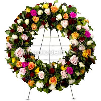 Corona Funebre con Rose colori misti