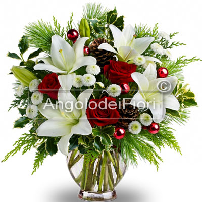 Christmas Bouquet with Red Roses and Lilium