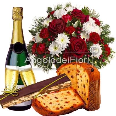 Bouquet con fiori Natalizi con Torrone Panettone Spumante