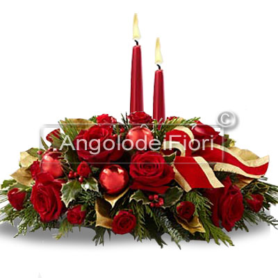 Centrotavola natalizio con candele