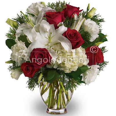 Bouquet Natalizio con Rose e Lilium