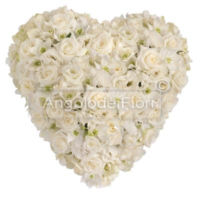 Cuore Funebre di Rose Bianche