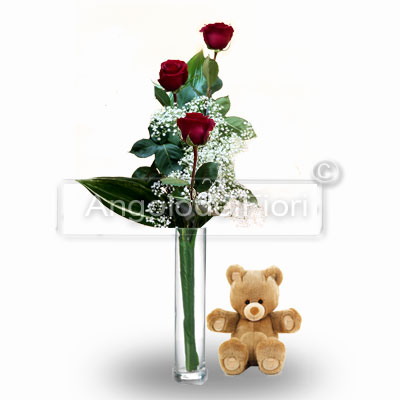 Three Red Roses with Teddy Bear
