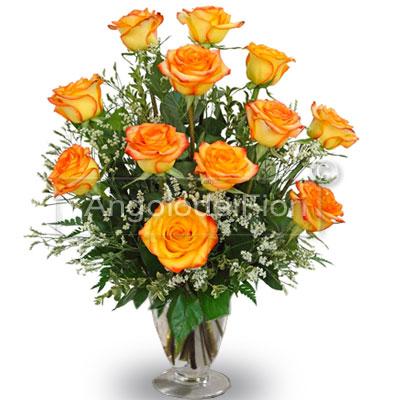 Twelve Orange Roses