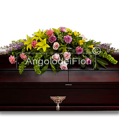 Funeral Pillow With yellow and pink flowers
