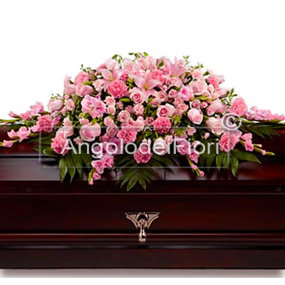 Cuscino Funebre Con fiori rosa