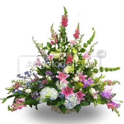Composizione Funebre Elegante con fiori misti