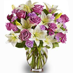 Lilium bouquet of white and Pink Roses