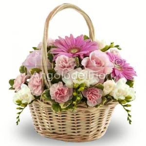 Basket with pink and white flowers