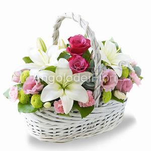 Basket of white and pink flowers
