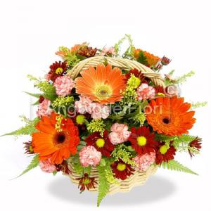 Basket of flowers orange and pink