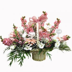 Flower basket with pink flowers