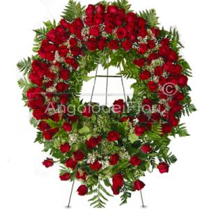 Wreath of red roses