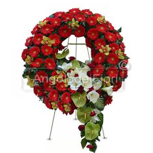 funeral wreath of red flowers