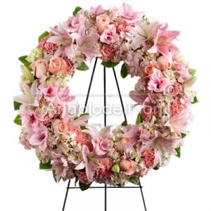 Funeral wreath of pink flowers