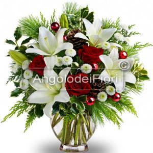 Bouquet Natalizio con Lilium e Rose Rosse