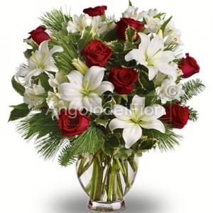 Lilium bouquet of flowers and Christmas