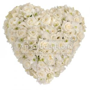 Funeral heart of White Roses