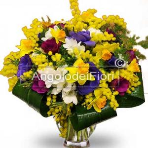 Bouquet of Spring Flowers and Mimosa