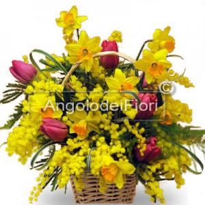 Basket of Flowers and Mimosa