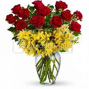Twelve Red Roses with Mimosa