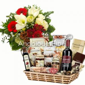 Wonderful Christmas Bouquet and with Basket of Products Traditional Local