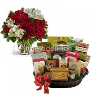 Bouquet con cesto alimentare da regalare ai tuoi amici o parenti