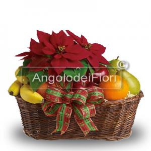 Wonderful basket with poinsettia and fresh fruit