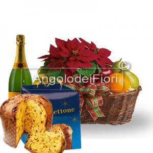 Basket with Poinsettia and Fruit and Panettone and Sparkling Wine