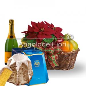Basket with Poinsettia and Fruit and Pandoro and Sparkling Wine