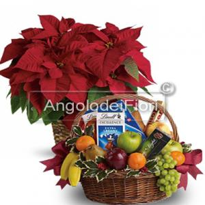 Christmas Gift Basket with poinsettia and local products